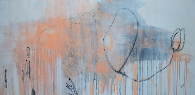 peach abstract beige painting