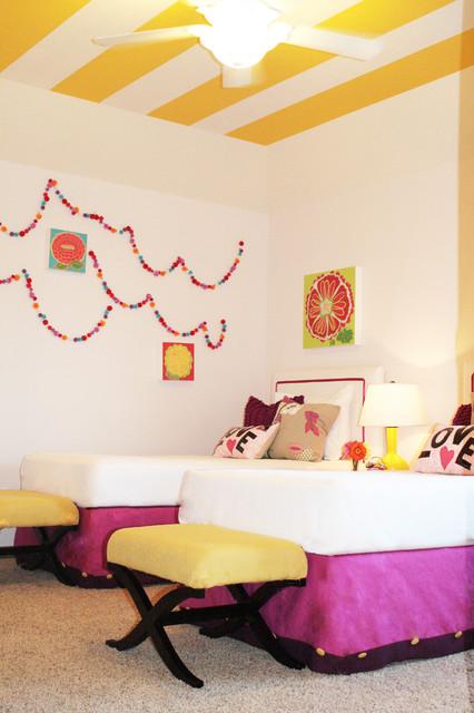 Fun twin girl's bedroom eclectic-kids