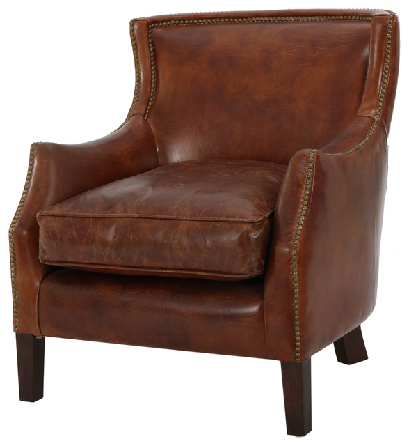 Tiller Leather Club Chair Brown  Southwestern