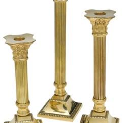 Corinthian Sofas Soft Cord Fabric Sofa Brass Column Candlesticks, Set Of 3 - Victorian ...