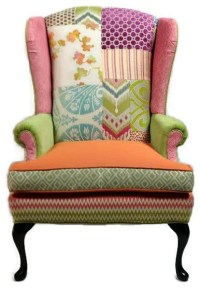 Colorful Patchwork Wing Chair