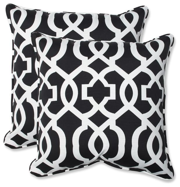 2 Piece Outdoor Square Pillow Set Black White Fl 18 Target