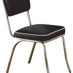 Retro Chrome Chairs Lacey Events Chair Covers Coke With Black Cushions Set Of 2 Midcentury Dining By U Buy Furniture Inc