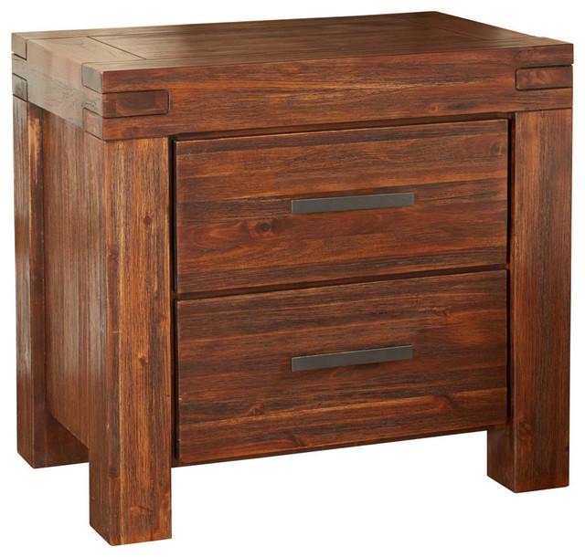 modus furniture meadow 2 drawer solid wood nightstand in brick brown