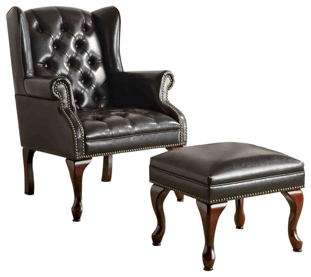 tufted chair and ottoman festival folding coaster traditional wing back button armchairs accent chairs by gwg outlet