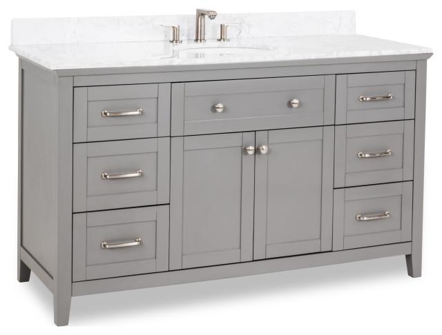 60 Grey Vanity Satin Nickel Hardware Shaker Style Carrara Marble Top Oval Bowl Transitional Bathroom Vanities And Sink Consoles By Kolibri Decor
