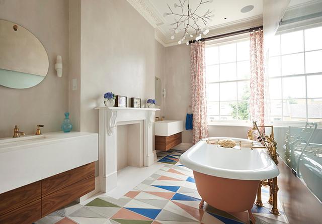 salle de bains grace au carrelage au sol