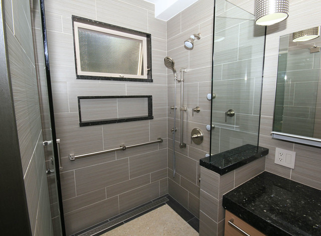 Step in shower with fullsize shampoo niche  Contemporary