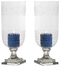 Greek Key Glass Hurricane Lamp Lantern, Set of 2 Candle