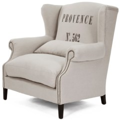 Accent Wingback Chairs Cheapest High Online Napoleon Linen Brass Nail Head Half Chair Traditional Armchairs And By Kathy Kuo Home