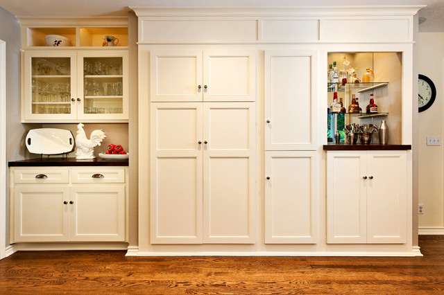 White Built In Kitchen Cabinet And Pantry Traditional Kitchen