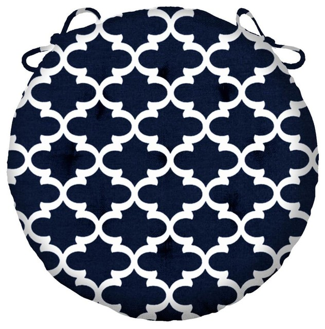 fulton navy blue bistro chair pad 16 round indoor outdoor