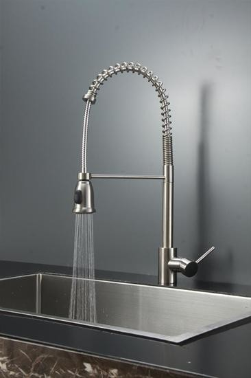 moen bronze kitchen faucet mahogany cabinets ruvati rvf1215st commercial style pullout spray ...