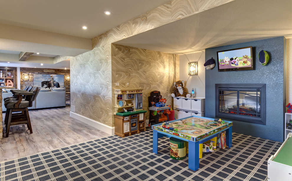 Basement Home Theater Kids Play Area Traditional Basement Denver By Fbc Remodel Houzz
