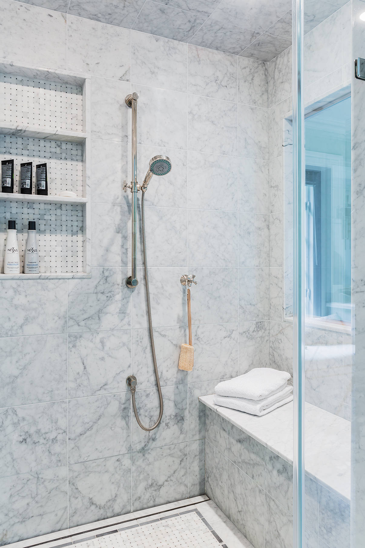 white marble tile with grey veins