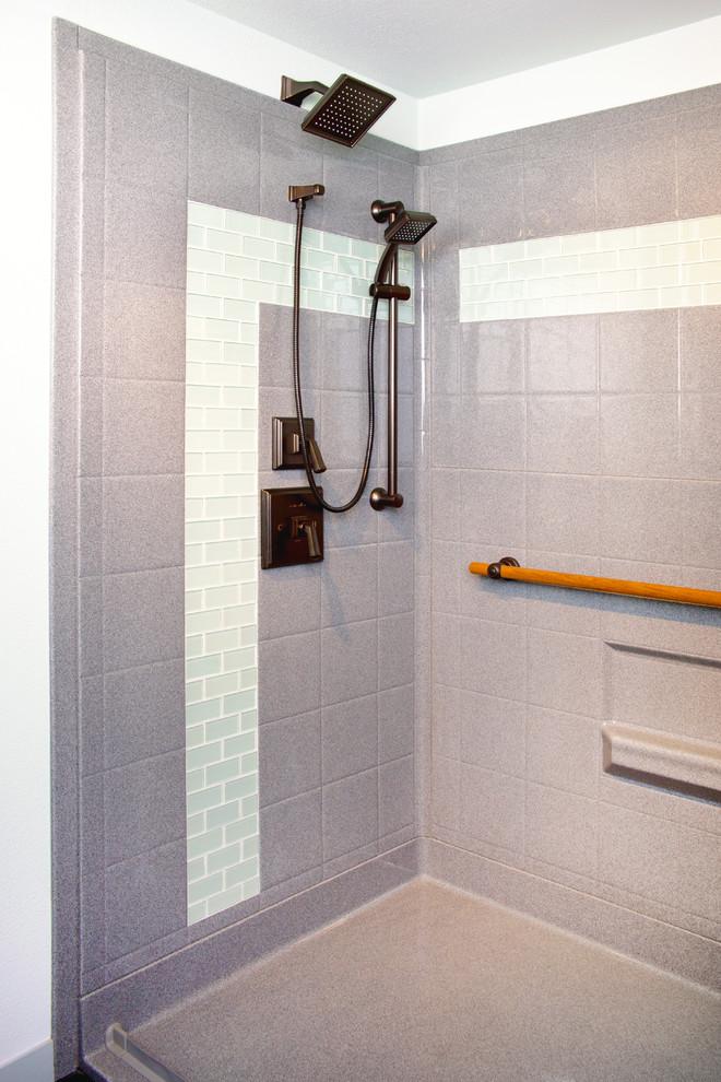 faux tile shower walk in shower
