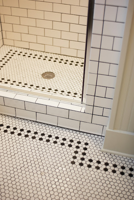 black and white hex tile traditional