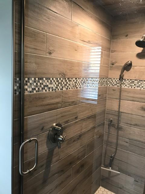 buffalo wood look tile bathroom