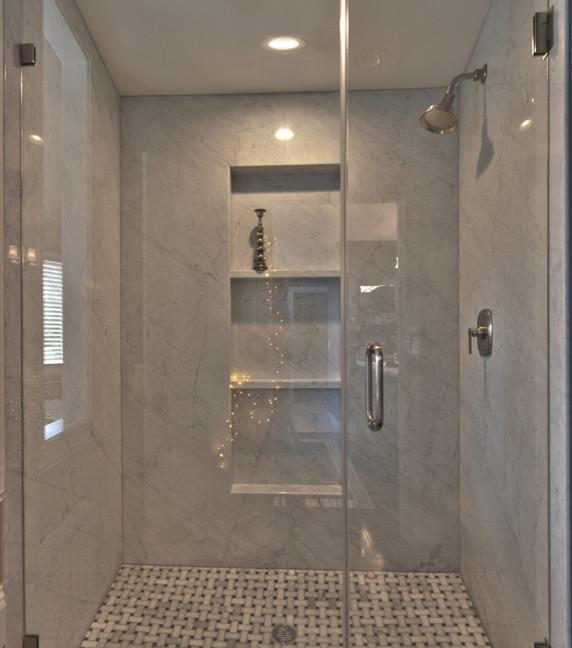 carrera marble shower houzz