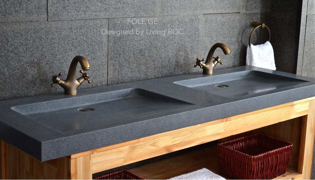 fole ge 63 x20 double trough granite