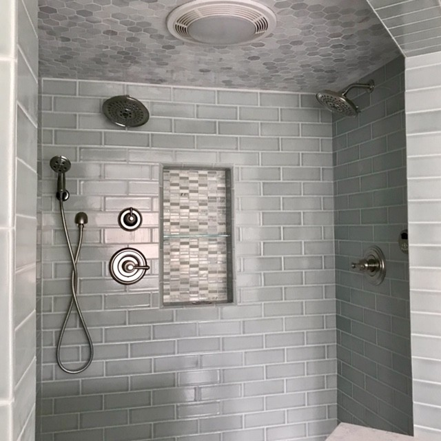 handmade gray subway tile shower with