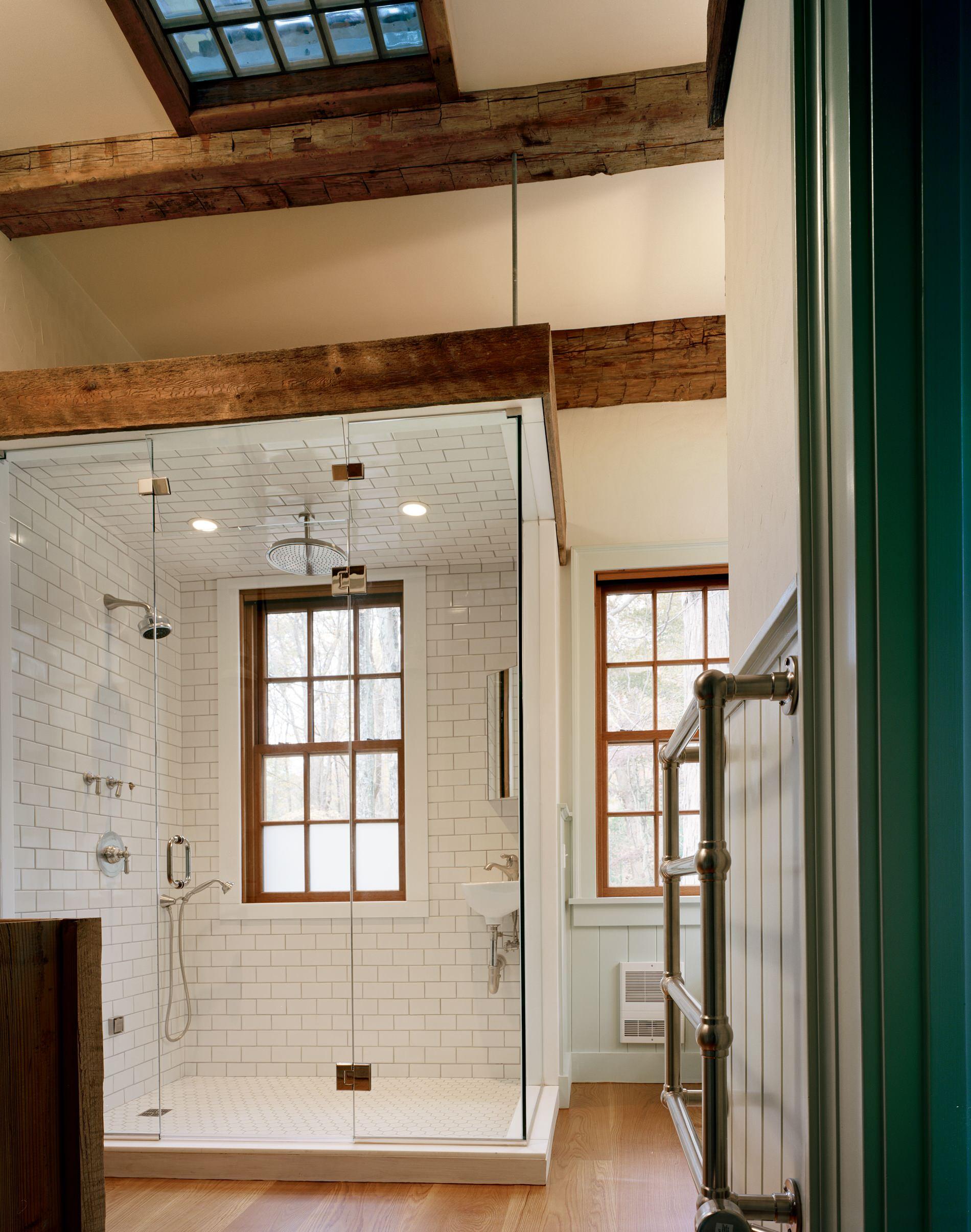 75 beautiful rustic white tile bathroom