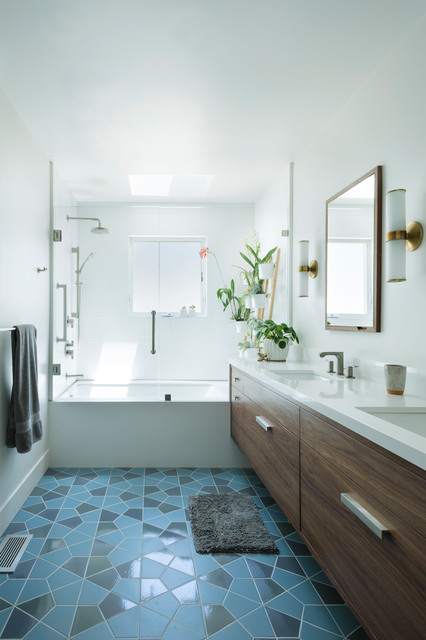 shower curtain with a glass tub enclosure