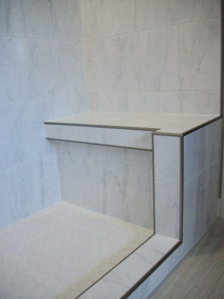 shower bench with metal edge
