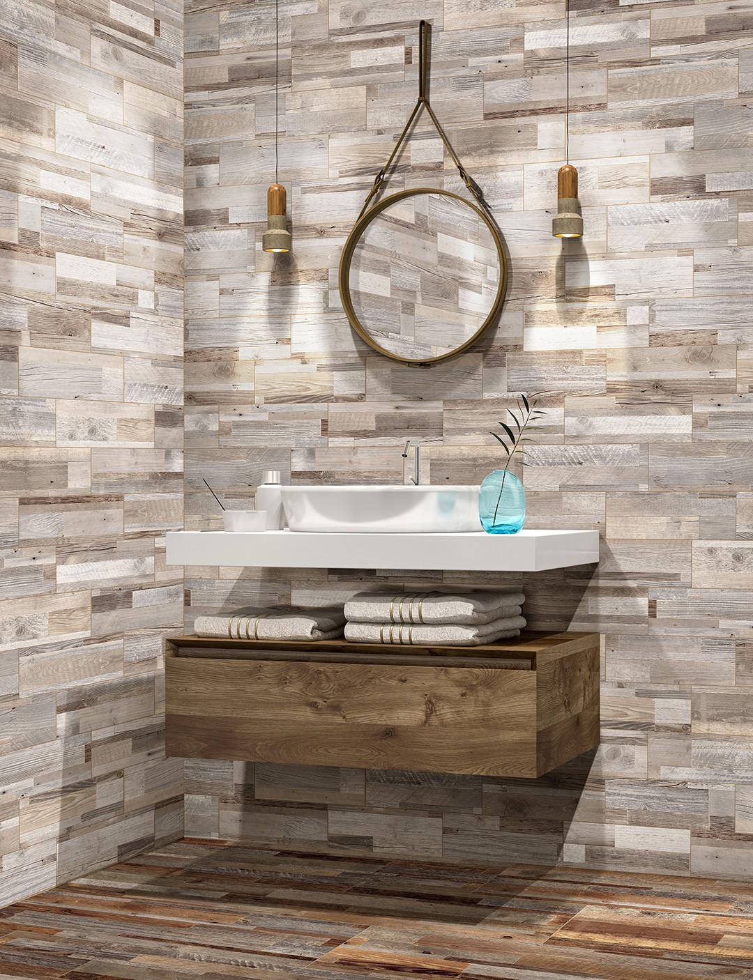 tavern rustic bathroom by genrose