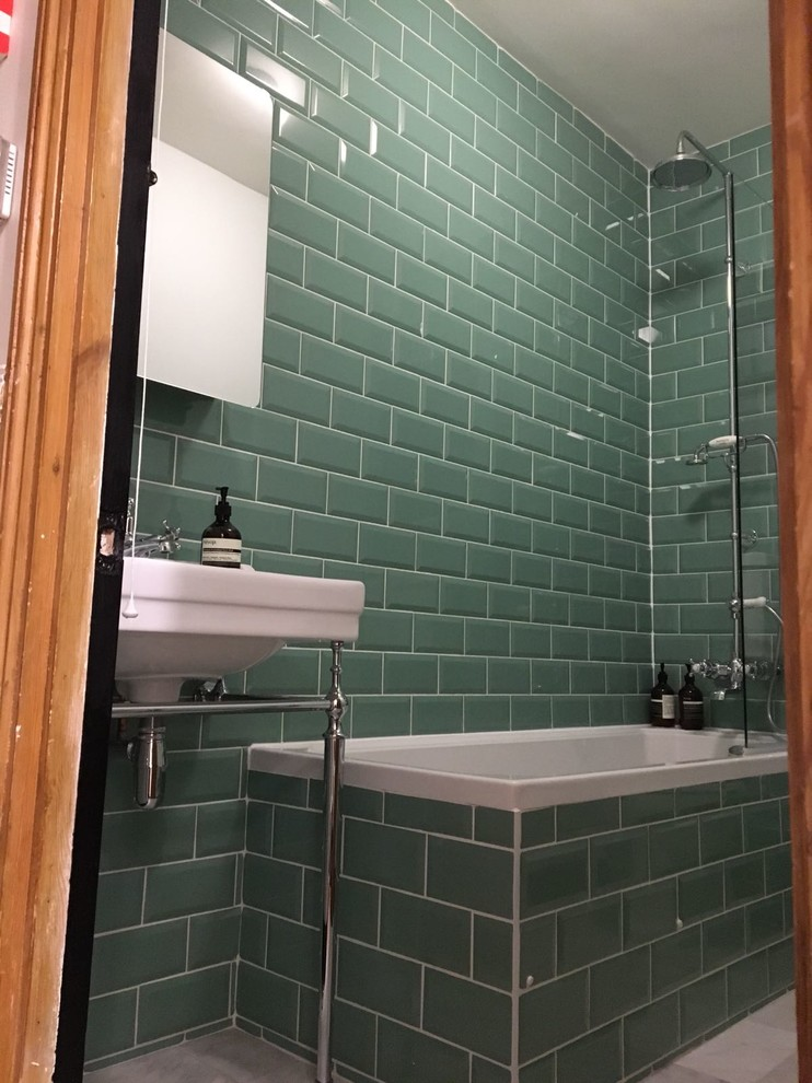 traditional family bathroom in teal