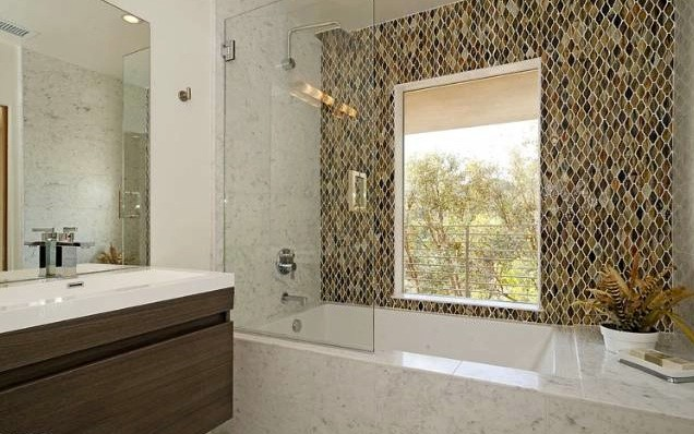 wave glass mosaic tile shower wall