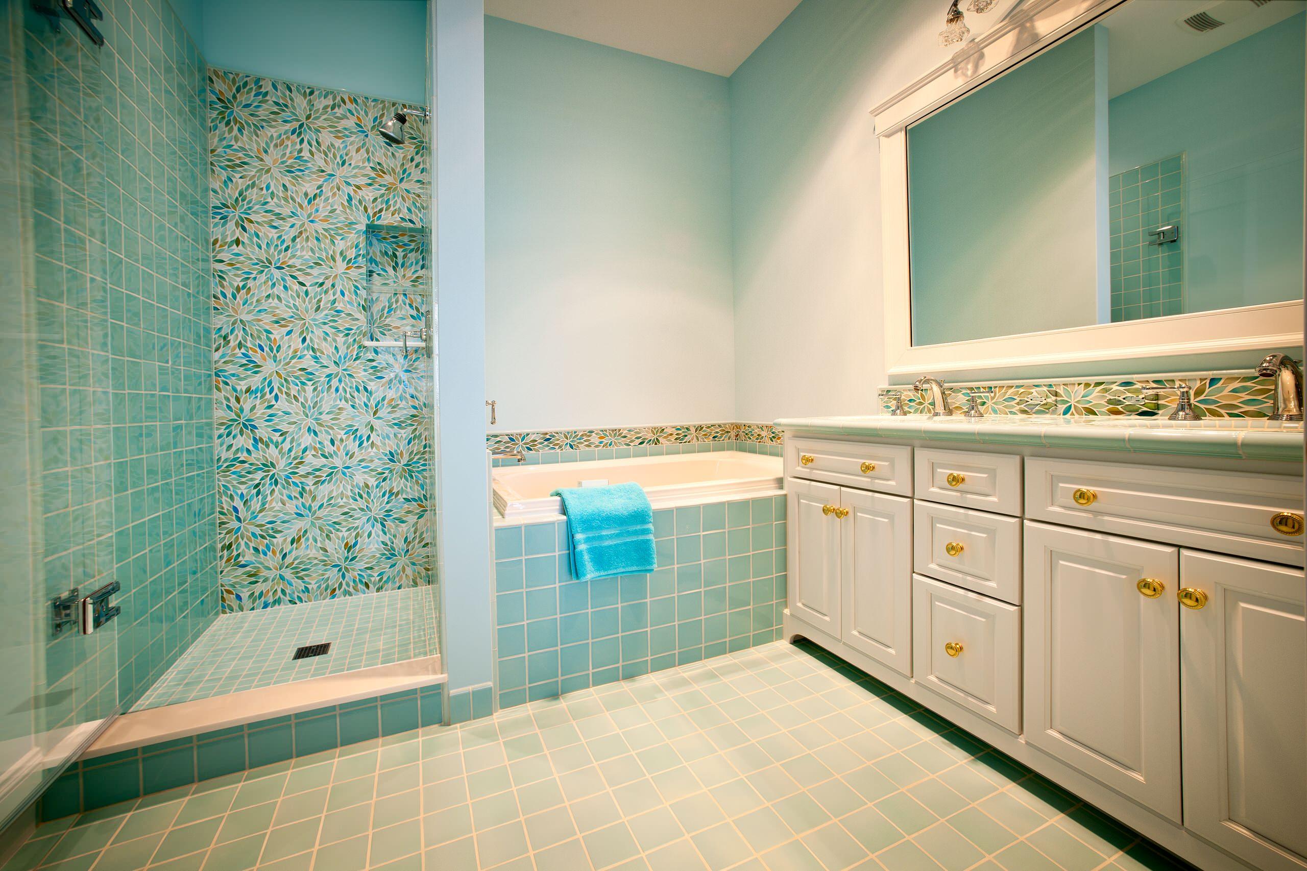 aqua seafoam blue glass mosaic tile bathroom ideas photos houzz