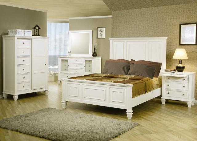 4 PC Glenmore White Panel Size Bedroom Furniture Set ...