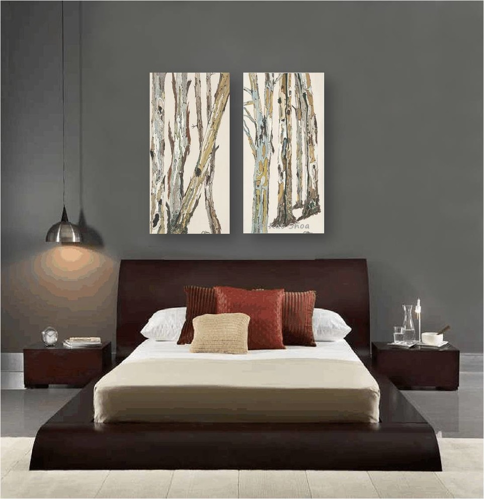 Contemporary Bedroom Design Dark Gray Walls Artwork Zen Style Furniture Brown Contemporary Bedroom Los Angeles By Shoa Gallery