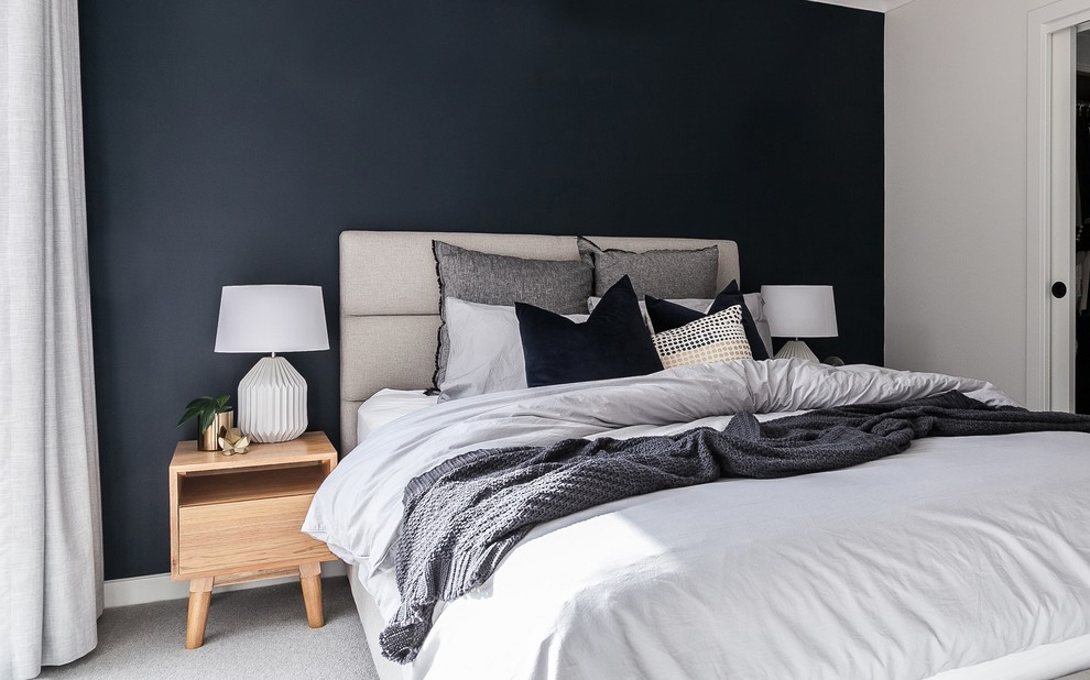Master Bedroom Feature Navy Blue Wall Modern Bedroom Melbourne By Hx Design
