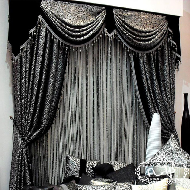 The world of window coverings can be overwhelming. Mosaic Grid Black Mosaic Mark Embroid Black Curtains Mosained Tiles Curtain Modern Bedroom Darwin By Home Curtain Designer William Charms Houzz Ie