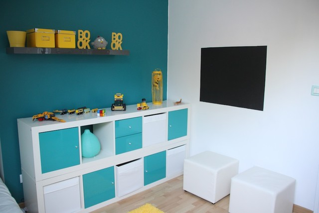 decoration chambre enfant bleu et jaune