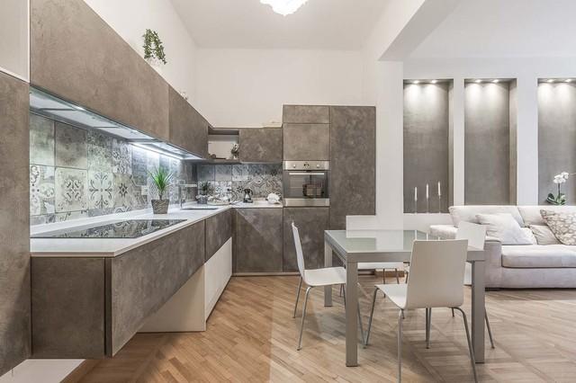 Living molto ampio in stile classico contemporaneo. Soggiorno Open Space Contemporaneo Cucina Roma Di Facile Ristrutturare Houzz