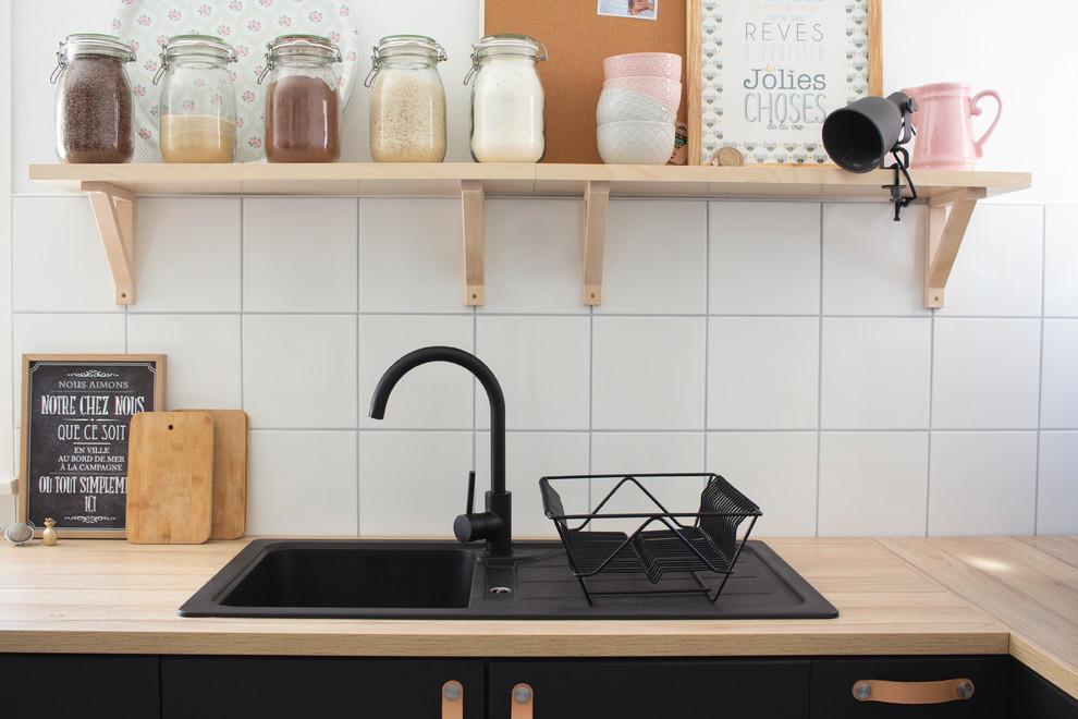 cuisine ikea noire et bois industrial