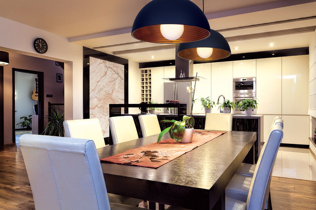astro dome pendants above dining table