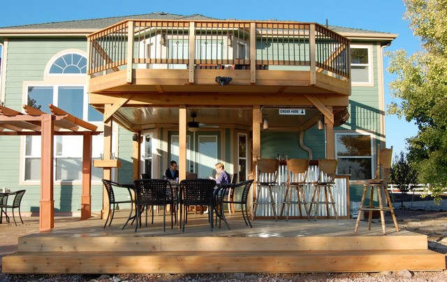 cedar upper and lower deck with deck