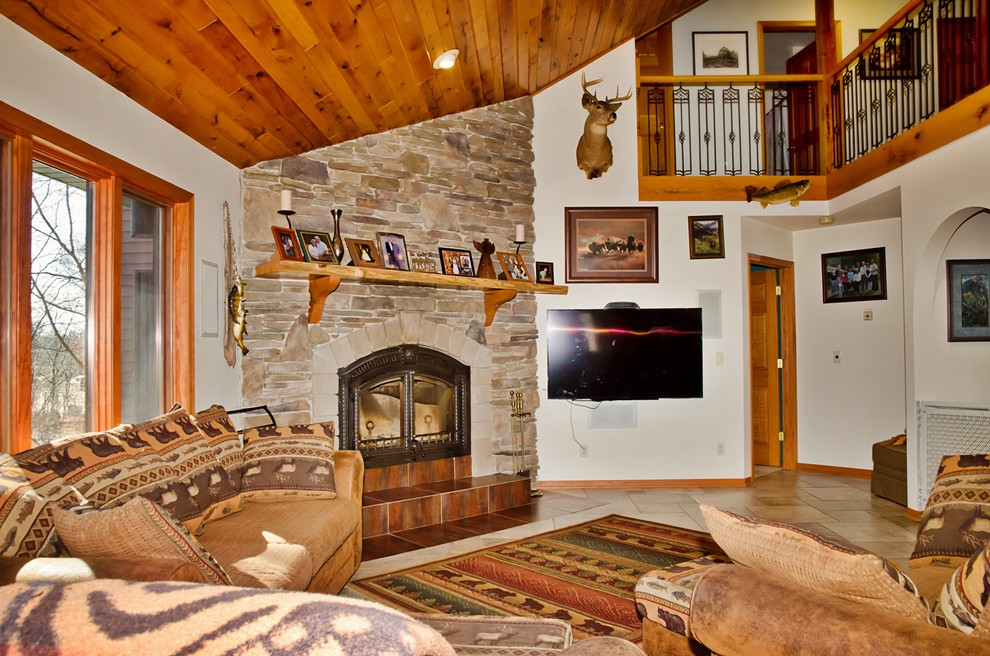large stone fireplace rustic family