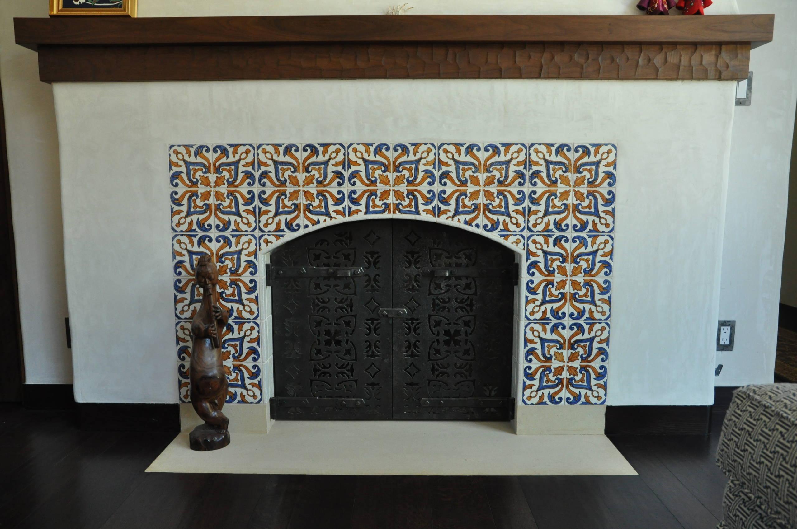 spanish tile fireplace houzz