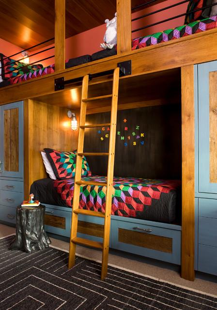 Camera con letto e cassetti 3 di 40. Mountain Retreat Rustic Kids Denver By Studio 80 Interior Design Houzz