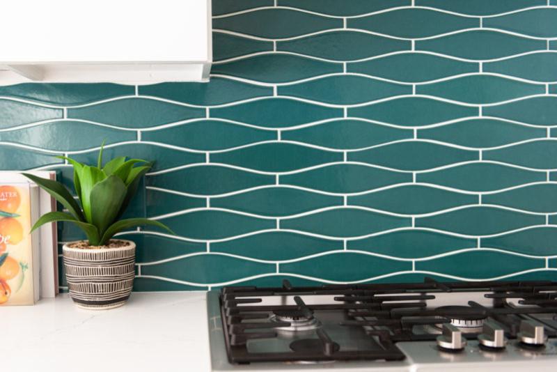 blue wave tile backsplash for eclectic