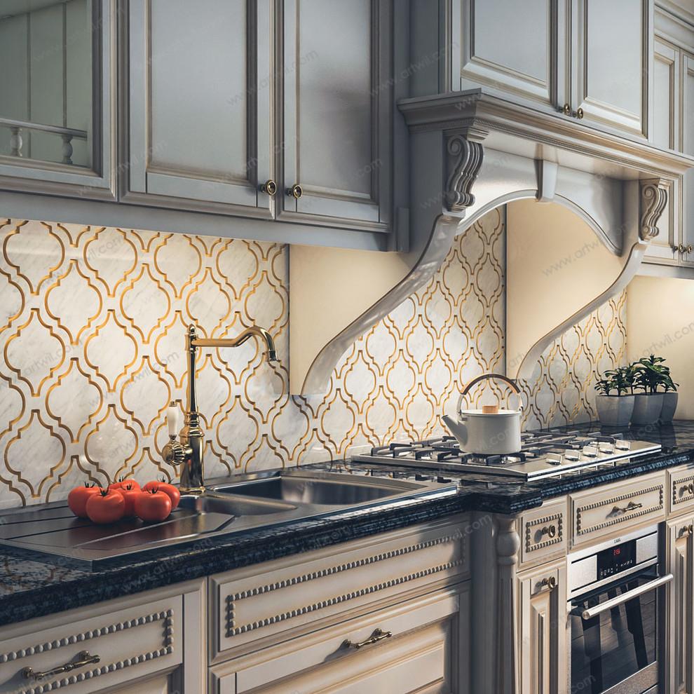 classic kitchen backsplash with white