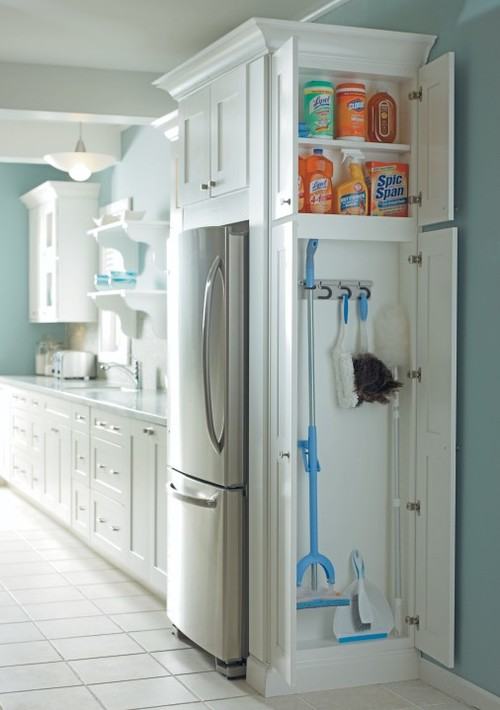 Hidden Storage Cabinets To Put Cleaning Supplies and Broom / Mop