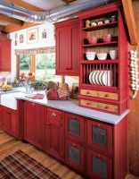Red Cabinets Kitchen / Red Kitchen Cabinets On Modern ...