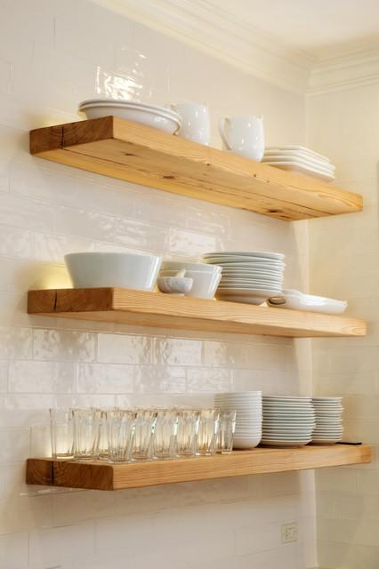 floating shelves light up a modern