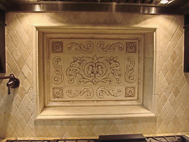 kitchen backsplash using floral tile